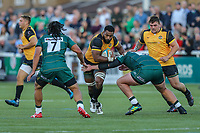 Andrew Durutalo of Ealing Trailfinders (centre) during the Greene King IPA Championship match between Ealing Trailfinders and London Irish Rugby Football Club  at Castle Bar, West Ealing, England  on 1 September 2018. Photo by David Horn.