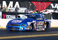 Jul. 25, 2014; Sonoma, CA, USA; NHRA pro stock driver Larry Morgan during qualifying for the Sonoma Nationals at Sonoma Raceway. Mandatory Credit: Mark J. Rebilas-