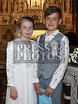 Clara Fitzharris and Finn Nugent who received their First Holy Communion in St. Peters Church. Photo:Colin Bell/pressphotos.ie
