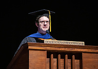 Professor Gerald Daigle, recipient of The Linda and Tod White Teaching Prize<br /> The class of 2023 are welcomed to Occidental College by trustees, faculty and staff in Thorne Hall on Aug. 27, 2019 during Oxy's 132th Convocation ceremony, a tradition that formally marks the start of the academic year and welcomes the new class.<br /> (Photo by Marc Campos, Occidental College Photographer)