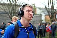 Ruaridh McConnochie and the rest of the Bath Rugby team arrive for the match. Gallagher Premiership match, between Gloucester Rugby and Bath Rugby on April 13, 2019 at Kingsholm Stadium in Gloucester, England. Photo by: Patrick Khachfe / Onside Images