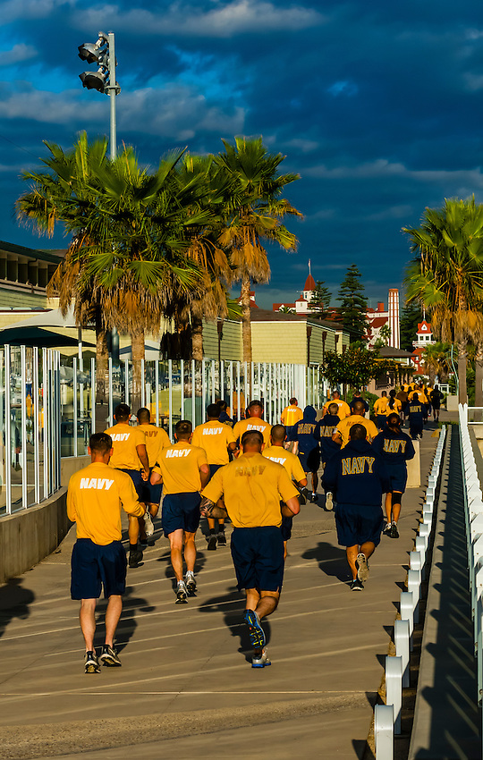 U.S. Navy personnel from the nearby Naval Base Coronado running on Coronado Island (San Diego), California USA.