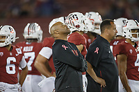 Stanford, CA - October 05, 2019: A moment to reflect before  the Stanford vs Washington football game Saturday night at Stanford Stadium for Head Coach David Shaw.<br /> <br /> Stanford won 23-13.
