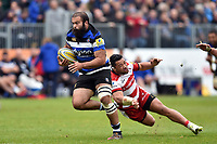 Kane Palma-Newport of Bath Rugby looks to get past Motu Matu'u of Gloucester Rugby. Aviva Premiership match, between Bath Rugby and Gloucester Rugby on April 30, 2017 at the Recreation Ground in Bath, England. Photo by: Patrick Khachfe / Onside Images