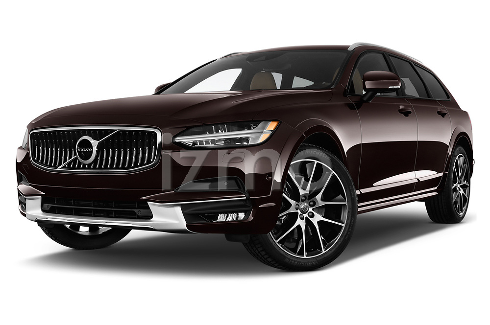 Stock pictures of low aggressive front three quarter view of a 2017 Volvo V90 Corss Country Pro 5 Door Wagon