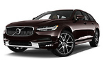 Stock pictures of low aggressive front three quarter view of a 2018 Volvo V90 Corss Country Pro 5 Door Wagon