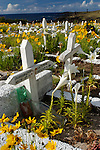 Overlooking the sea near Ahu Tahai, Hanga Roa's colorful cemetery is full of tombstones with Polynesian names.
