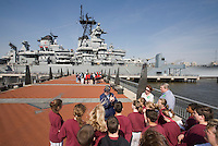 Students at the USS New Jersey Battleship (BB62), Camden Waterfront, Delaware River, New Jersey