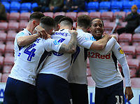 8th February 2020; DW Stadium, Wigan, Greater Manchester, Lancashire, England; English Championship Football, Wigan Athletic versus Preston North End; Daniel Johnson of Preston North End celebrates after his sides 7th minute goal