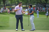 Jon Rahm (ESP) shakes hands with C.T. Pan (TAI) following round 3 of the Fort Worth Invitational, The Colonial, at Fort Worth, Texas, USA. 5/26/2018.<br /> Picture: Golffile | Ken Murray<br /> <br /> All photo usage must carry mandatory copyright credit (&copy; Golffile | Ken Murray)