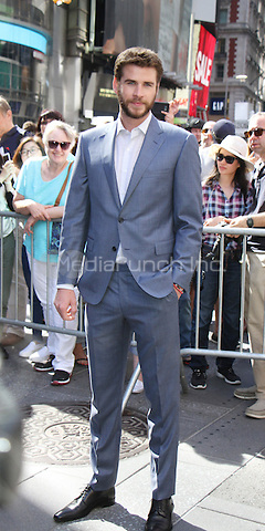 NEW YORK, NY-June 14:  Liam Hemsworth from the cast of  Independence Day: Resurgence ring Nasdaq Stock Open Bell  at Nasdaq Time Square in New York. NY June 14, 2016. Credit:RW/MediaPunch