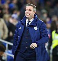 26th November 2019; Cardiff City Stadium, Cardiff, Glamorgan, Wales; English Championship Football, Cardiff City versus Stoke City; Neil Harris, Manager of Cardiff City smiles ahead of his first home game in charge of Cardiff City - Strictly Editorial Use Only. No use with unauthorized audio, video, data, fixture lists, club/league logos or 'live' services. Online in-match use limited to 120 images, no video emulation. No use in betting, games or single club/league/player publications