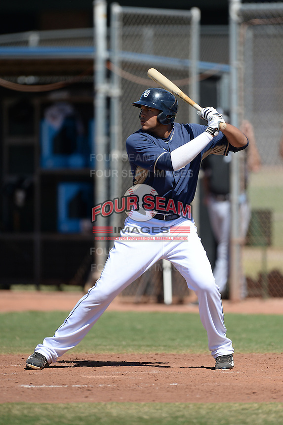 San Diego Padres first baseman Jonas Lantigua (10) during an Instructional League game against the Chicago White Sox on October 3, 2014 at Peoria Stadium Training Complex in Peoria, Arizona.  (Mike Janes/Four Seam Images)