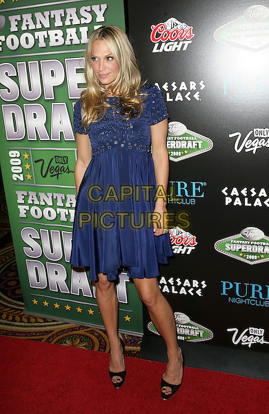 MOLLY SIMS .Molly Sims hosts a Fantasy Football Superdraft VIP Party at Pure Nightclub inside Caesar's Palace Resort Hotel and Casino, Las Vegas, Nevada, USA..August 29th, 2009.full length simms blue silver circles studs studded dress black peep toe shoes .CAP/ADM/MJT.© MJT/AdMedia/Capital Pictures.