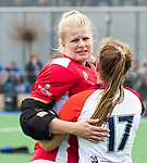 ALMERE - Hockey - Overgangsklasse competitie dames ALMERE- ROTTERDAM (0-0) . Almere keeper Danielle van der Poel met rechts Yvette Willems .   COPYRIGHT KOEN SUYK