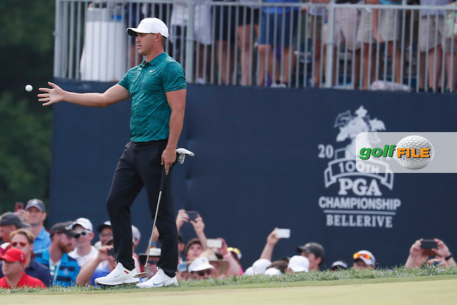 Brooks Koepka (USA) catches a ball from his caddie on the 18th hole during the final round of the 100th PGA Championship at Bellerive Country Club, St. Louis, Missouri, USA. 8/12/2018.<br /> Picture: Golffile.ie | Brian Spurlock<br /> <br /> All photo usage must carry mandatory copyright credit (© Golffile | Brian Spurlock)