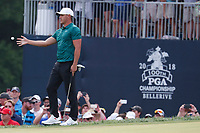 Brooks Koepka (USA) catches a ball from his caddie on the 18th hole during the final round of the 100th PGA Championship at Bellerive Country Club, St. Louis, Missouri, USA. 8/12/2018.<br /> Picture: Golffile.ie | Brian Spurlock<br /> <br /> All photo usage must carry mandatory copyright credit (&copy; Golffile | Brian Spurlock)