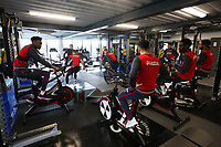 Tammy Abraham, Leon Britton, Nathan Dyer and Wayne Routledge of Swansea City exercise in the gym during the Swansea City Training at The Fairwood Training Ground, Swansea, Wales, UK. Wednesday 07 March 2018