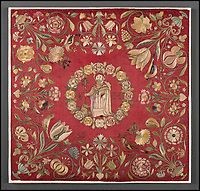 BNPS.co.uk (01202 558833)<br /> Pic: IndarPasricha/BNPS<br /> <br /> 17th century French chasuble detail in silk depicting St Jerome surrounded by flowers.<br /> <br /> From High Fashion to the High Church...<br /> <br /> An incredible collection of 17th century ecclesiastical textiles, that actually started life as luxury fashion worn by the aristocratic women of the day, has emerged for sale.<br /> <br /> The historically important ensemble highlights a golden moment in European textile production dating from 1690 to 1720 when free reign was given to intricate dress designs in gold and silk that was soon adopted by the senior members of the church to adorn they're otherwise plain vestments.<br /> <br /> The valuable collection, assembled over two decades, is now being sold with prices ranging from &pound;5,000 all the way to &pound;1m.