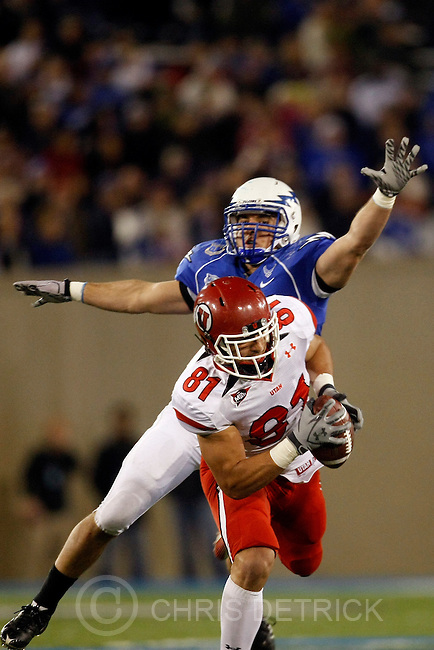 Chris Detrick  |  The Salt Lake Tribune .Utah Utes tight end Kendrick Moeai #81 makes a catch past Air Force Falcons linebacker Brady Amack #41 during the first half of the game at Falcon Stadium Saturday October 30, 2010.   Utah is winning the game 14-10.