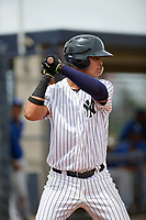 GCL Yankees East Jhon Moronta (57) at bat during the first game of a doubleheader against the GCL Blue Jays on July 24, 2017 at the Yankees Minor League Complex in Tampa, Florida.  GCL Blue Jays defeated the GCL Yankees East 6-3 in a game that originally started on July 8th.  (Mike Janes/Four Seam Images)
