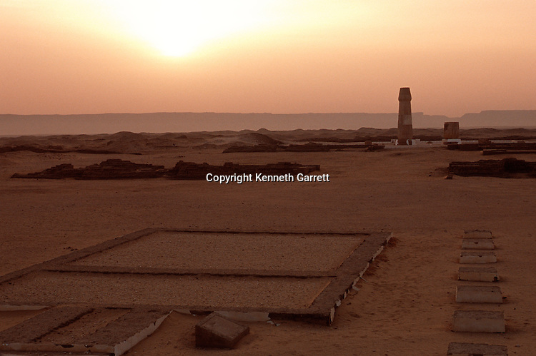 Sunrise over ruins of the small Aten temple, mud brick foundation and a replica temple column, Amarna, city built by Pharaoh Akhenaten, Capital city, Tel el Amarna Egypt