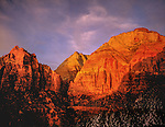 Winter sunset in Zion National Park, Utah .  John offers private photo tours in Arizona and and Colorado. Year-round.