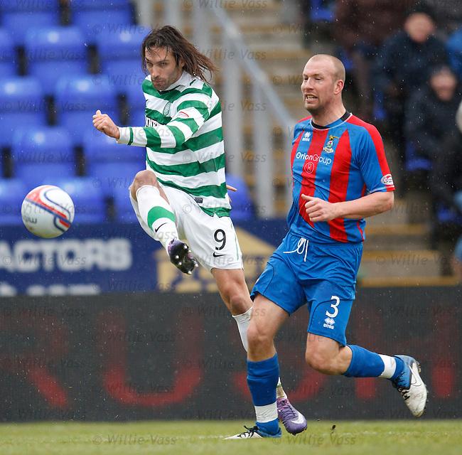 Georgios Samaras scores for Celtic as Ross Tokeley watches