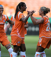 Sky Blue FC midfielder Rosana (11) celebrates her goal with teammate Kacey White (20).  Washington Freedom defeated Skyblue FC 2-1 at RFK Stadium, Saturday May 23, 2009.
