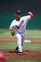 Auburn Doubledays starting pitcher Nelson Galindez (23) delivers a pitch during a game against the Batavia Muckdogs on June 17, 2018 at Falcon Park in Auburn, New York.  Auburn defeated Batavia 10-8.  (Mike Janes/Four Seam Images)