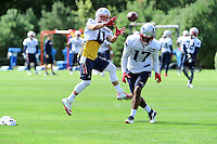 Wednesday, August 17, 2016: New England Patriots wide receiver Julian Edelman (11) makes a catch at a joint training camp session between the Chicago Bears and the New England Patriots held at Gillette Stadium in Foxborough Massachusetts. Eric Canha/CSM