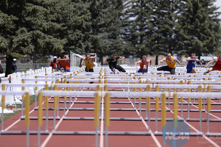 15 MAY 2014: Athletes compete during the Mountain West Conference Men's and Women's Outdoor Track & Field Championship held at the Madrid Sports Complex on the University of Wyoming campus in Laramie, WY.  Justin Tafoya/NCAA Photos