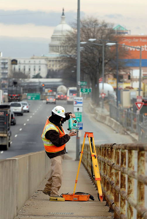 Along South Capitol Street, Ryan Brown prepares to survey the site of the new baseball stadium in southeast D.C.