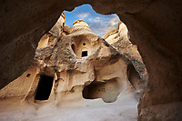 The fairy chimney rock early Christian  church of Pasabag Valley,  monks valley, near Goreme, Cappadocia, Nevsehir, Turkey