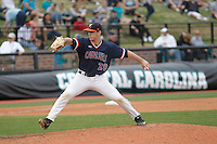 University of Virginia Cavaliers pitcher Kevin Doherty (28) on the mound during a game against the University of Coastal Carolina Chanticleers at Springs Brooks Stadium on February 21, 2016 in Conway, South Carolina. Coastal Carolina defeated Virginia 5-4. (Robert Gurganus/Four Seam Images)