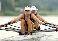 Poznan, POLAND.  2006, FISA, Rowing, World Cup,  NZL W2X, bow Georgina  EVERS-SWINDELL and Caroline EVERS-SWINDELL, moves  away from  the  start, on the Malta  Lake. Regatta Course, Poznan, Thurs. 15.06.2006. © Peter Spurrier   .[Mandatory Credit Peter Spurrier/ Intersport Images] Rowing Course:Malta Rowing Course, Poznan, POLAND