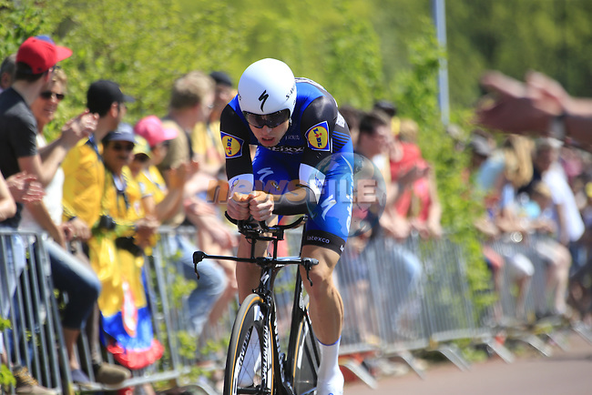 Lukasz Wisniowski (POL) Etixx-Quick Step in action during Stage 1 of the 2016 Giro d'Italia, an individual time trial of 9.8km around Apeldoorn, The Nethrerlands. 6th May 2016.<br /> Picture: Eoin Clarke | Newsfile<br /> <br /> <br /> All photos usage must carry mandatory copyright credit (&copy; Newsfile | Eoin Clarke)