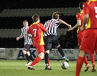 Thomas Reilly fouled by Alex Whittle in the St Mirren v Dunfermline Athletic Clydesdale Bank Scottish Premier League U20 match played at St Mirren Park, Paisley on 2.10.12.