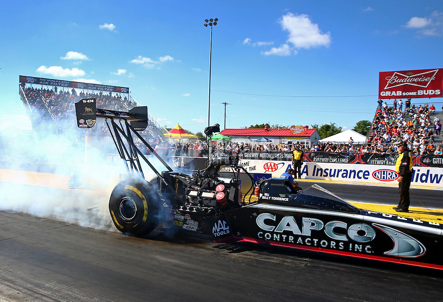 Sep 29, 2013; Madison, IL, USA; NHRA top fuel dragster driver Billy Torrence during the Midwest Nationals at Gateway Motorsports Park. Mandatory Credit: Mark J. Rebilas-