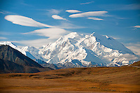 Mt. McKinley, Summit 20,320 ft, known as The High One or Denali.  Denali National Park, Alaska USA