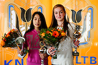 Rotterdam, The Netherlands, 07.03.2014. NOJK ,National Indoor Juniors Championships of 2014, 12and 16 years, Winner girls 12 years Lian Tran (NED)(R) and runner up girls 12 years Julie Belgraver (NED)<br /> Photo:Tennisimages/Henk Koster