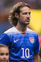 United States' midfielder Mix Diskerud (10) during the singing of national anthem before an international friendly at the Alamodome, Wednesday, April 15, 2015 in San Antonio, Tex. (Mo Khursheed/TFV Media via AP Images)