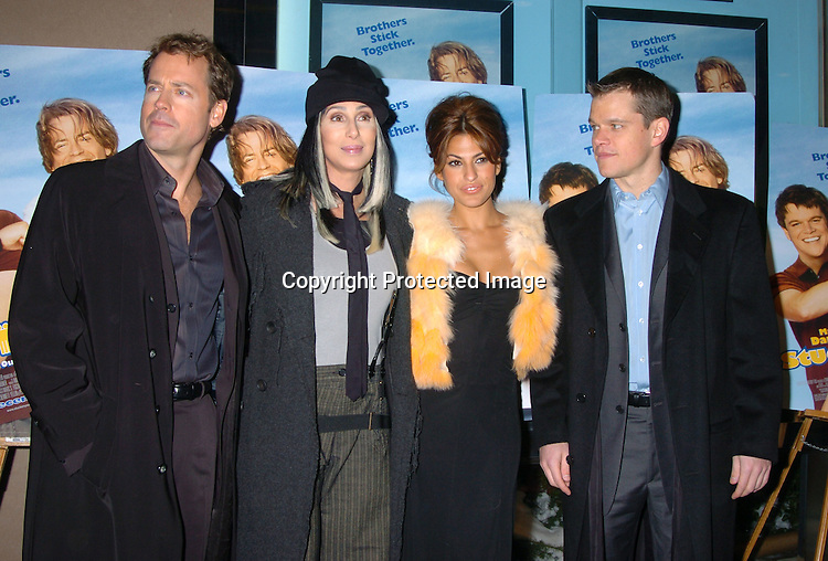 "Greg Kinnear, Cher, Eva Mendes and Matt Damon..at a Special Screening of ""Stuck On You"" on December 8, 2003 at the Chelsea West Theatre. Photo by Robin Platzer, Twin Images"