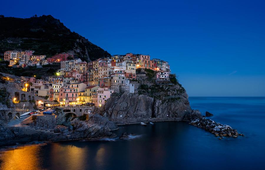 MANAROLA, ITALY - CIRCA MAY 2015:  Village of Manarola at night in Cinque Terre, Italy.