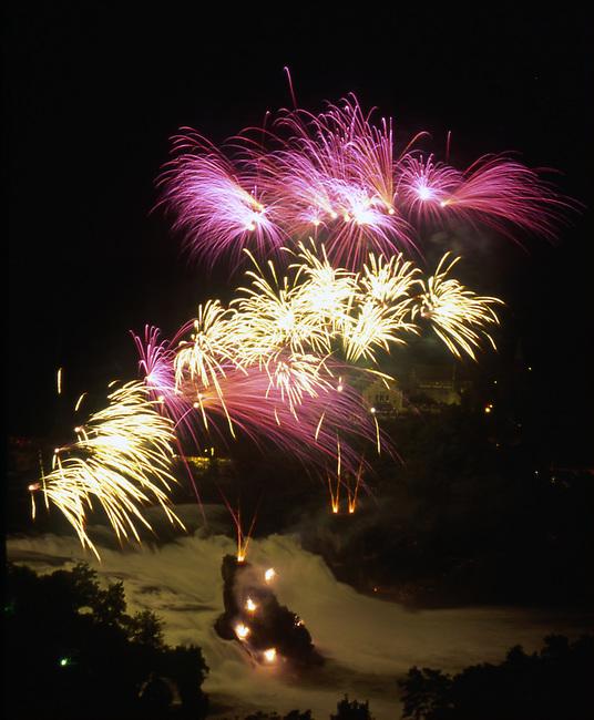 Fireworks, Independence Day, Rheinfall, Neuhausen, Switzerland