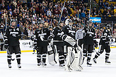 The Friars salute their fans. - The Boston College Eagles defeated the Providence College Friars 4-2 in their Hockey East semi-final on Friday, March 16, 2012, at TD Garden in Boston, Massachusetts.
