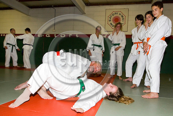 "MORTSEL - BELGIUM - 03 SEPTEMBER 2008 -- Paul PAUWELS (Le), the Martial Art ""Guru"" of Jujutsu teaching self-defense technics in the Satori Kwai Dojo. -- PHOTO: JUHA ROININEN / EUP-IMAGES"