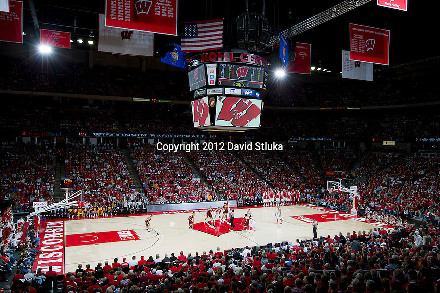 A general view of the Kohl Center during the tip-off of the Wisconsin Badgers Big Ten Conference NCAA college basketball game against the Minnesota Golden Gophers on Tuesday, February 28, 2012 in Madison, Wisconsin. The Badgers won 52-45. (Photo by David Stluka)