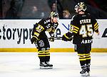 Stockholm 2014-03-21 Ishockey Kvalserien AIK - R&ouml;gle BK :  <br /> AIK:s Jordan Hendry och AIK:s Oscar Steen eppar<br /> (Foto: Kenta J&ouml;nsson) Nyckelord:  depp besviken besvikelse sorg ledsen deppig nedst&auml;md uppgiven sad disappointment disappointed dejected