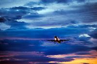 Jet airlpane in flight.